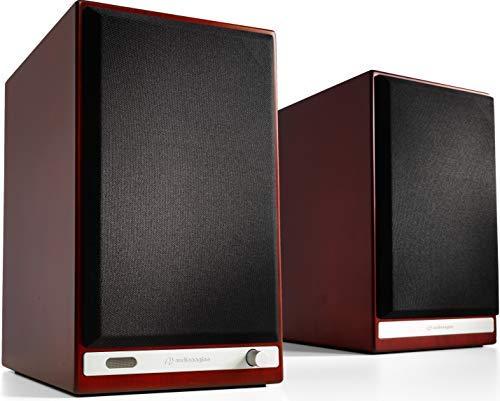 Audioengine HD6 Wireless Speaker | Desktop Monitor Speakers | Home Music System aptX HD Bluetooth, 150W Powered Bookshelf Stereo Speakers, AUX Audio, USB, Optical, RCA, 24-bit DAC (Cherry Wood)