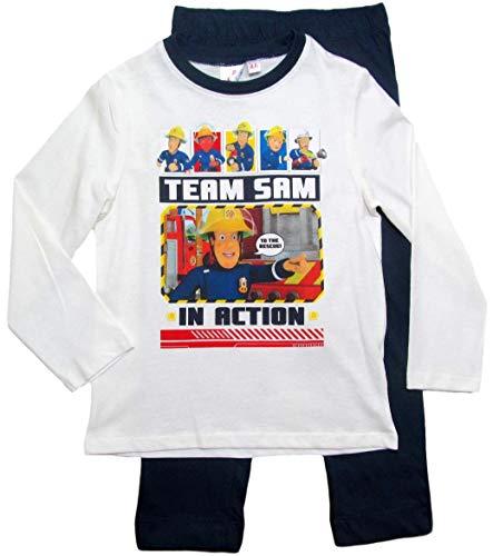 Feuerwehrmann Sam Schlafanzug Jungen Lang Pyjama (Blau-Weiß, 98-104)