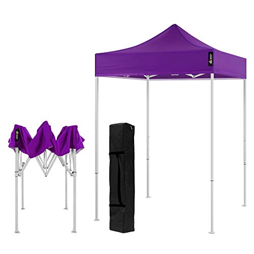 American Phoenix Canopy Tent 5x5 feet Party Tent [White Frame] Gazebo Canopy Commercial Fair Shelter Car Shelter Wedding Party Easy Pop Up (Purple)