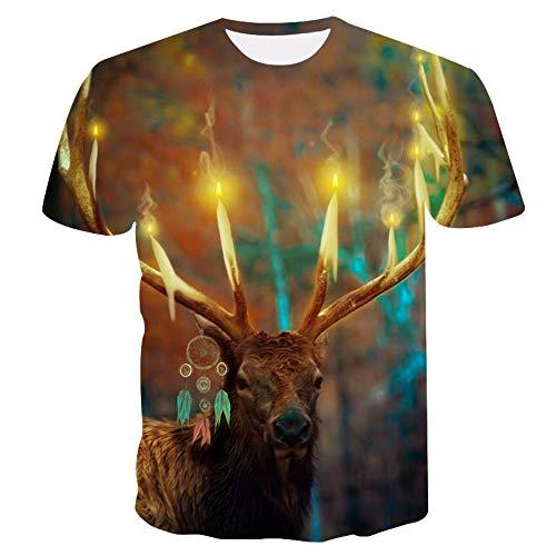 XIAOBAOZITXU 3D digitale print T-shirt zomer mannen en vrouwen korte mouwen vuur kaars hert unisex paar kleding cool grappig losse mode sport grote maat T-shirt