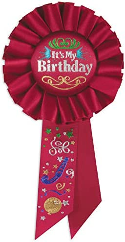 Beistle It s My Birthday Rosette Party Item 3 1 4 Inch by 6 1 2 Inch Red product image