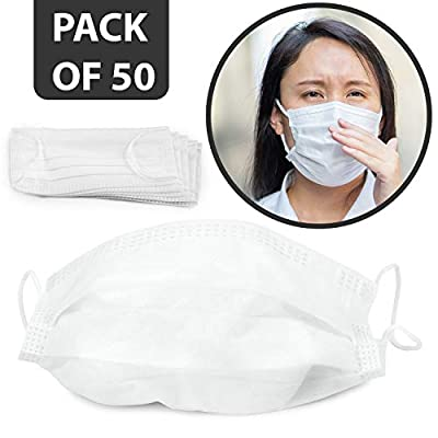 50 pack disposable face, 2 PLY Facial Mask with Elastic Ear Loop, Breathable Non-woven Dust Filter Face Mask, Soft Dust Fliter Mouth Cover for Air Pollution, 2 layer - 50 pack