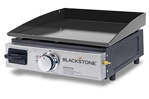 Blackstone Table Top Grill - 17 Inch Portable Gas Griddle - Propane Fueled - For Outdoor Cooking While Camping, Tailgating or Picnicking, Stainless Steel & Black