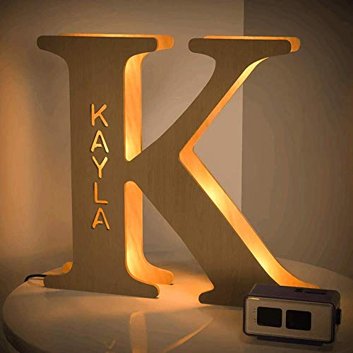 VEELU Personalized Decor Led Night Light Marquee Letter Lights Custom Wooden Engraved Name Wall Light for Bedroom Christmas Wedding - Best Gift for Family Lovers Friends