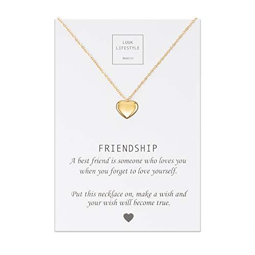LUUK LIFESTYLE Collar de acero inoxidable con colgante de corazón y tarjeta de Friendship, amuleto de la suerte, cadena de la amistad, regalo de cumpleaños, oro