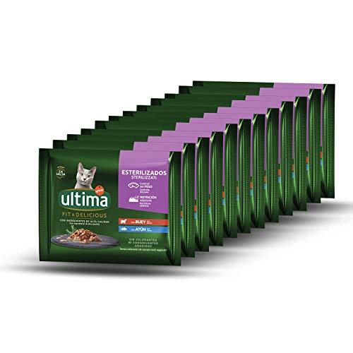 Ultima Comida Húmeda para Gatos con Buey y Atún, 12 x (4 x 85 gr), 4080g