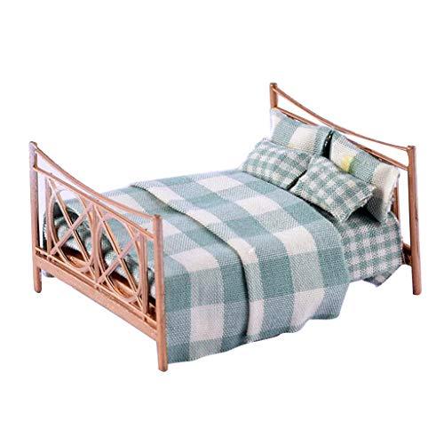FLAMEER 1/25 Mini Puppenbett Doppelbett Puppenhaus Schlafzimmer Zubehör