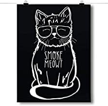 Inspired Posters - Smoke Meowt - Stoner Cat Decorative Wall Art Poster - Modern Home Decor - Motivational Posters - UV Print 24 x 36 Poster