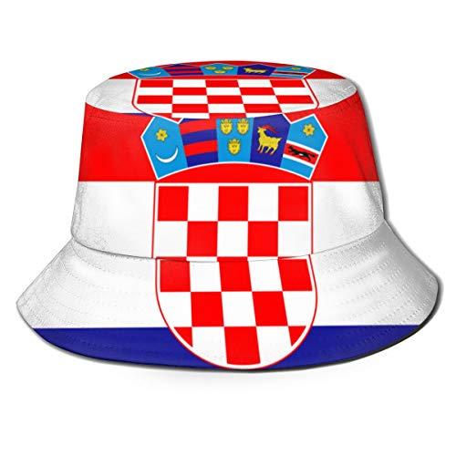 LBTD Flagge von Kroatien, Fischerhut, Unisex, Sonnenhut, faltbar, doppelseitiger Druck, Outdoor-Kappe