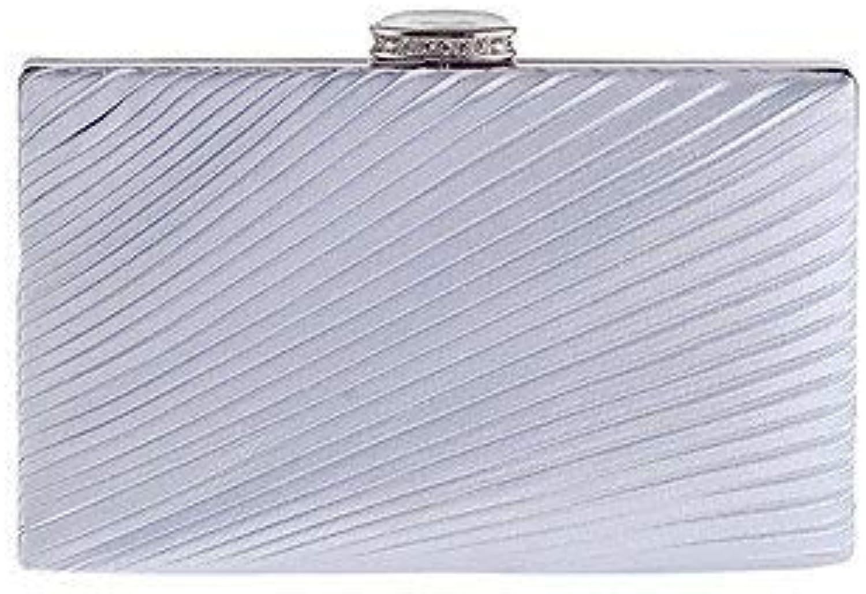Ladies Handbag Women Elegant High-Grade Diamonds Ruffles Evening Bag (color   Silver)