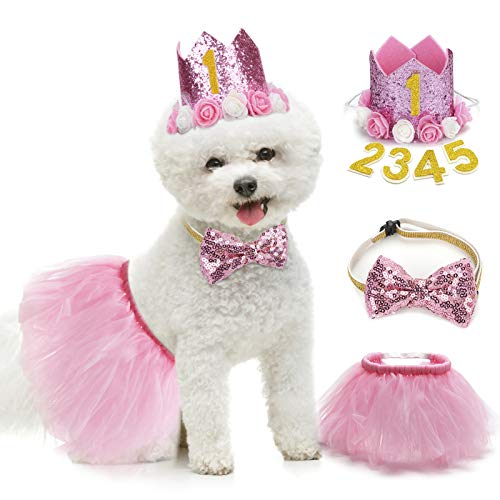 Legendog Dog Tutu Skirt, Dog Birthday Party Supplies - Dog Birthday Hat - Dog Bowtie, Cute Pink Dog Birthday Outfit Girl , Dog Dresses for Small Dogs