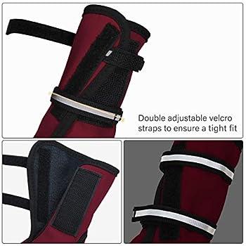 Bottes de protection pour chien Ensemble imperméable, chaussures chien antidérapantes avec boucle adhésive Sangles réfléchissantes Chaussures chiens chaudes résistantes pour les chiens Rouge XL