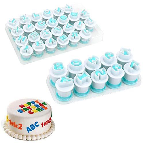 Techson 26 PCS Capital Letter Cookies Cutter, Mini Plastic Alphabet Fondant Cake Biscuit Plunger Mold, Baking Accessories Set (Uppercase Letters & Numbers)