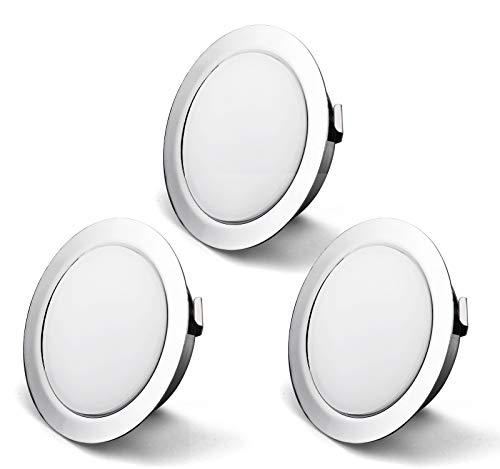 Set di 3 Faretti led da incasso per mobili, 230 V, 3,5 W, IP44 G4, 15 mm ultra piatti Faretti LED da Incasso, 3000 K, Bianco Caldo, per cappa da cucina, bagno, faretto da incasso (Cromo)