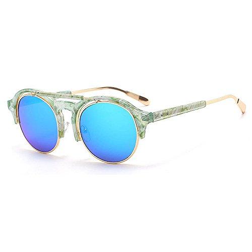 EXCLVEA-CS Damenbrille Steampunk Style Semi-Randlose Runde Form Sonnenbrille UV400 Schutz Für Outdoor Fahren Radfahren Laufen Angeln Golf Hochwertige und langlebige Linse (Farbe : C4)
