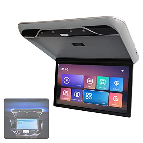 wansosuper Monitor De Techo para Automóvil Video Digital HD 1080p, Reproductor Abatible hacia Abajo para Techo De Automóvil con Luz Ambiental, ángulo De Apertura Máximo De 120 °,Grey