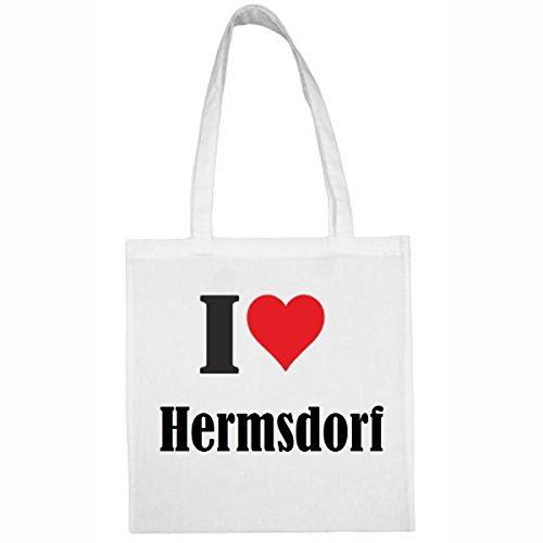 Tasche I Love Hermsdorf Größe 38x42 Farbe Weiss Druck Schwarz