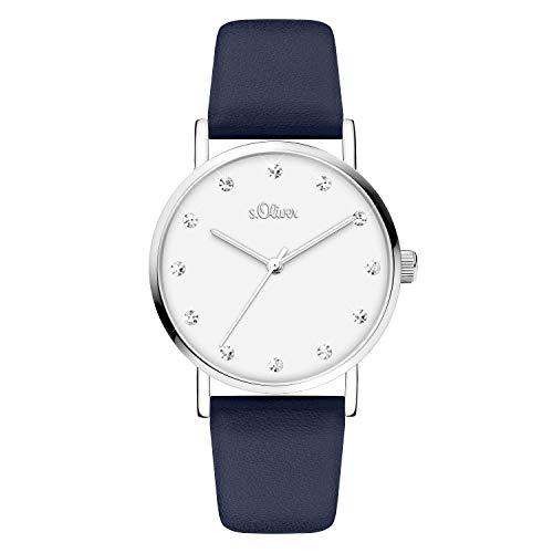 s.Oliver Damen Analog Quarz Armbanduhr mit Kunstleder SO-4109-LQ