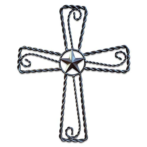 Metal Cross Wall Décor – Rustic Iron Home Art Decorations, Large Texas Country Western Scroll Barn Star Decoration for Living Room or Outdoor, Vintage Hanging Crosses and Stars (Black, 15'x12.5' (SM))