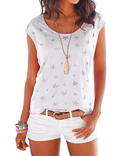 YOINS T-Shirt Damen Shirt Oberteile Sexy Oberteil für Damen Tops Langarm Sommer Herbst Rundhals mit Sterne (XL, Neu-Weiß)