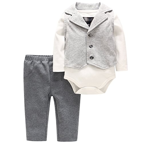 Neugeborenes Jungen Kleidung Set 3 Stück Strampler Hosen Weste Jumpsuit Bodysuit Outifts 0-3 Monate