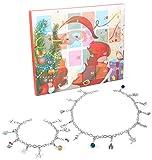Adramata Schmuck Adventskalender 2019 mit 24 Überraschungen in Form Schöner Schmuckstücke für DIY Kette Armband und Halskette für Kinder Mädchen Damen Weihnachten Geschenk