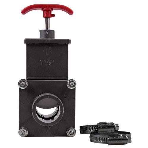 Absperrschieber PVC, 38mm + 2 Stk. V2A Schellen geeignet für Pools, Sandfilteranlagen, Teich, etc.