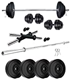 B Town 10KG Home Gym Combo of PVC Dumbbell Plate Set with 3Ft Straight Rod (Weight 3KG X 2,2KGX2-10KG)