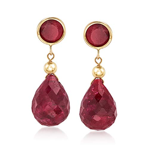 Ross-Simons 5.50 ct. t.w. Ruby Drop Earrings in 14kt Yellow Gold For Women