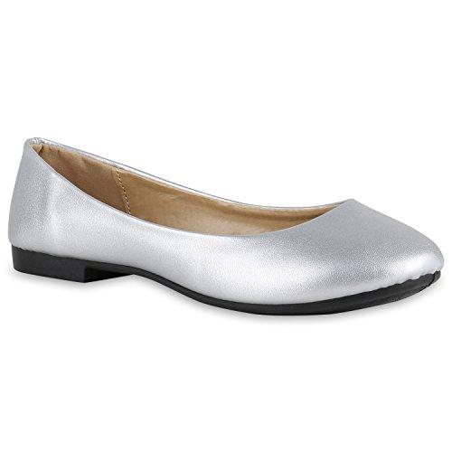 stiefelparadies Klassische Lack Ballerinas Damen Flats Velours Metallic Ballerina Schleifen Glitzer Damen Schuhe 132255 Silber Glatt 38 Flandell