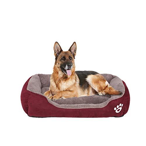 FRISTONE Waschbar Hundebett für kleine und große Hunde Hundekorb Weich 2XL Rot