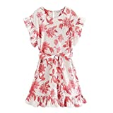 DENGZH Vestidos Casuales para Mujeres Mujeres Tropical Flower Print Hem Pleat Ruffles Mini Lop Chic Sendefly Manguito Vestido Bow Fashes Vestidos (Color : Flowers, Size : Small)
