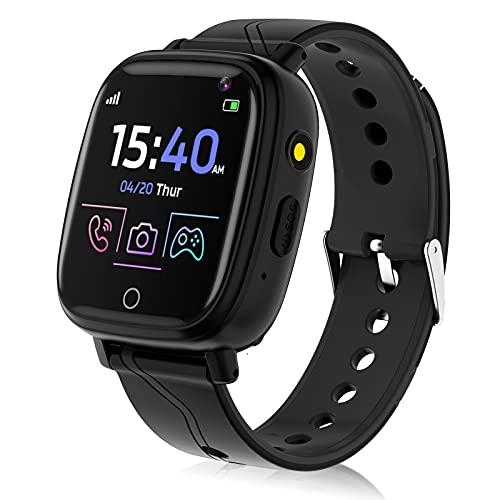 Smartwatch für Kinder, Telefonfunktion Smartwatch für Jungen Mädchen 4-12 Jahren Touchscreen Telefon Uhr mit Anruffunktion Spiele Musik Player Taschenlampe Kamera Wecker Geschenk (Schwarz)