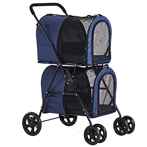 VIAGDO Double Pet Stroller for Small Medium Dogs & Cats, Detachable 4 Wheels Cats Stroller Double Dog Stroller with 2 Portable Travel Carrier/One-Hand Folding/Suspension System