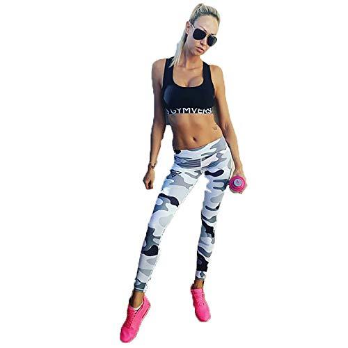 Y-H-X Mujeres sin Fisuras Leggings Alto Cintura Entrenamiento Tight Leggings Gimnasio Pantalones de Yoga Pantalones Pulta Control Deportes Compresión Camuflaje,3#,XL