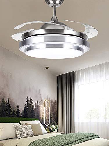 Ventilador de techo de 42 pulgadas con mando a distancia, aspas de ventilador retráctiles, alas plegables, 3 colores de luz, lámpara de techo moderna