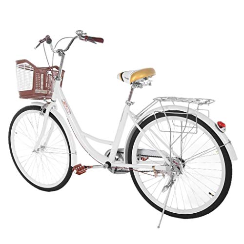 26 Inch Beach Cruiser Bicycle, Classic Bicycle Retro Bicycle, Women's Bicycle with Basket and Back Seat