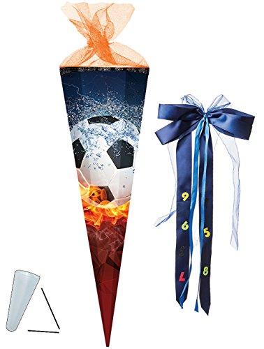 alles-meine.de GmbH Schultüte -  Fussball - Flamme  - 85 cm - eckig - incl. große Schleife - Tüllabschluß - Zuckertüte - Nestler - mit / ohne Kunststoff Spitze - für Jungen & M..