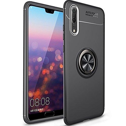 WATACHE Funda Huawei P20 Pro,Kickstand Giratorio 360 Degree agarrador Protección contra caídas Amortiguación Cubierta TPU Suave [Trabajo Montura magnética Coche] para Huawei P20 Pro(Negro)