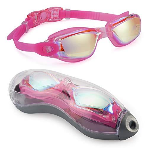 GYAM Gafas de natación, con espejo, sin fugas, protección UV, para triatlón, con funda de protección gratuita para hombres y mujeres, color rosa