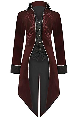 Medieval Steampunk Tailcoat Halloween Costumes for Men, Renaissance Pirate Vampire Gothic Jackets Vintage Warlock Frock Coat (XXL, Red)