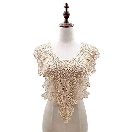 Wateroplosbare holle Venise kanten stof jurk stoffen motief blouse naaien versieringen DIY Lace kraag naaien Craft hals Decor, Beige