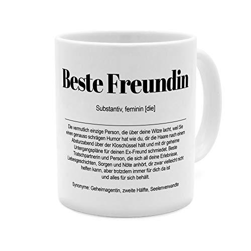 Tasse mit Definition Beste Freundin - Tasse mit Spruch, Wörterbuchtasse, Geschenktasse, witzig, Kaffeebecher, Becher, Kaffeetasse - Farbe Weiß
