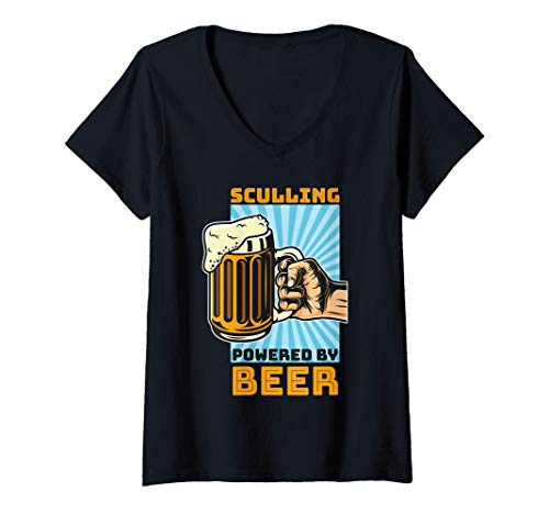 Donna Sculling and Beer Boat Rowing Rowing Rower Sculls Oars Drink Maglietta con Collo a V