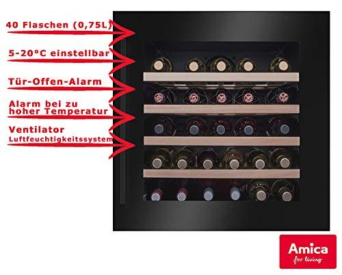 Amica Weintemperierschrank schwarz für 40 Flaschen á 0,75L 5-20°C WK 341 210 S