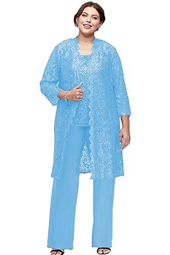 Übergröße Spitze Mutter der Braut Hosen Anzüge mit Jacken 3 Stück Chiffon Mutter Bräutigam Kleider - Blau - 38