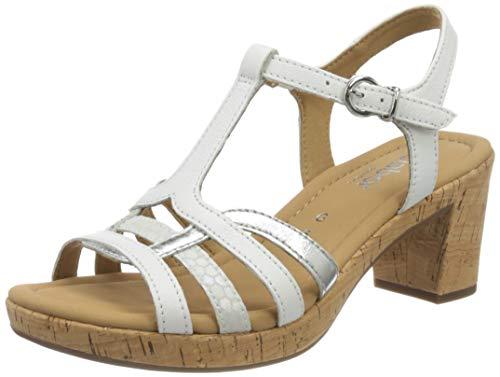 Gabor Shoes Damen Comfort Sport Riemchensandalen, Weiß (Weiss/Silber(Kork) 50), 39 EU