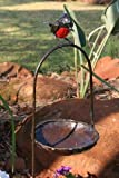 Delightful metal Red Robin on an arch bird bath - part of the hand crafted TILNAR fair trade range
