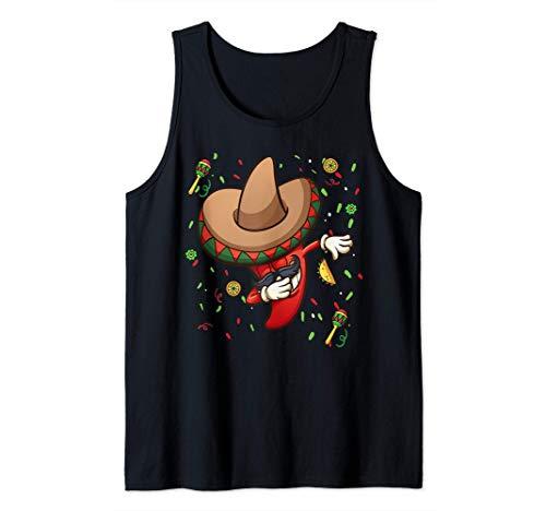 Funny Chili Dabbing Hot Pepper Sombrero Cinco de Mayo Party Camiseta sin Mangas