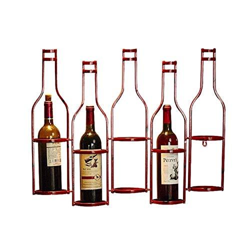 HTTJJ botellero muralla, vino del metal rústico Botellero, cuenta con 5 botellas, en la pared fortificada regenerado flotantes estante estante del vino, exhibición de pared de almacenamiento de botell